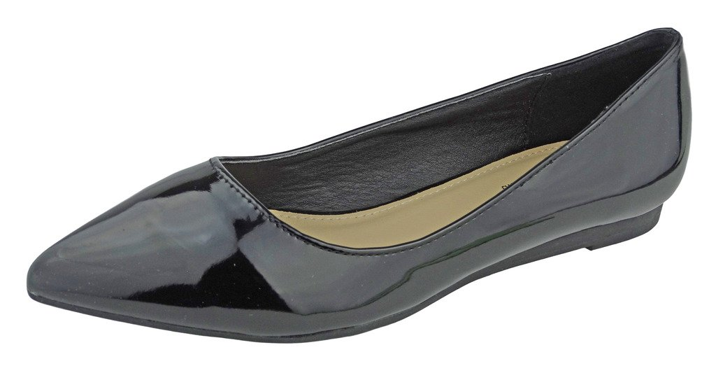 Pierre Dumas Women's Abby-10 Vegan Leather Pointed Toe Slip-On Fashion Dress Flats Shoes B01N48F5PC 10 B(M) US|Black Patent