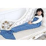 Mermaid Tail Blanket, OPACC Handmade Knitting Refreshing Super Soft Living Room Sleeping Bag All Seasons Sleeping Blankets for Children Audlt (56 x 28 inch, lake blue)