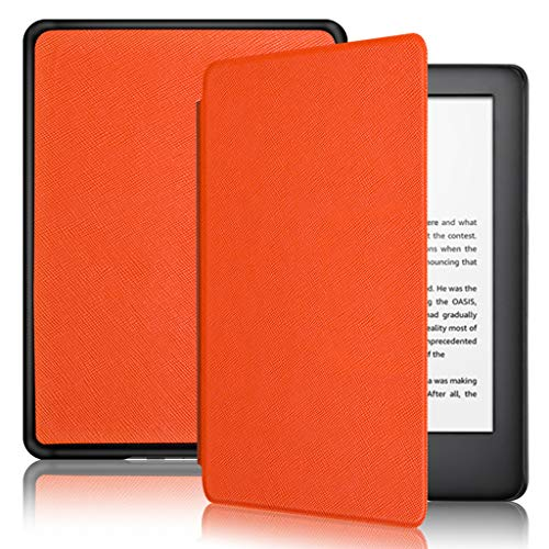 HuiKai Amazon Kindle , Custer Magnetic Leather Flip Stand Cover Case Ultra Thin Light-Weight Flexible Easy Clean for Amazon All-New Kindle 10th Generation 2019 snap-on Installation (Orange)