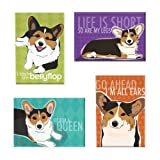 Pop Doggie Tri Color Pembroke Welsh Corgi Refrigerator Magnets with Funny Sayings (Set of 4)