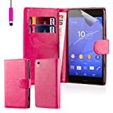 32nd® Book wallet PU leather case cover for Sony Xperia Z3 mobile phone - Hot Pink