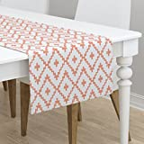 Table Runner - Southwest Diamonds Chevron Coral Boho by Fable Design - Cotton Sateen Table Runner 16 x 72