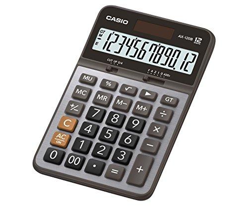 Calculatrices Bureau, Calculatrice /à /écran, 12 chiffres, Affichage inclinable, Solaire, Gris Casio AX-120B calculatrice Bureau Calculatrice /à /écran Gris