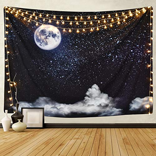 (BLEUM CADE Moon and Clouds Tapestry Wall Hanging Star Tapestry Starry Sky Tapestry for Living Room Bedroom Dorm Home Decor)
