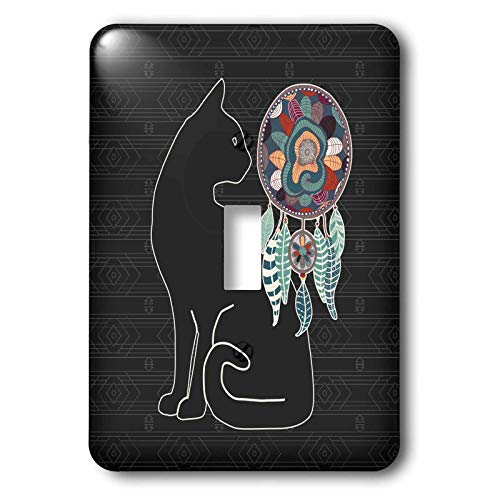 3dRose Doreen Erhardt Native American - Domestic Cat Silhouette with Dream Catcher Native American Animal - Light Switch Covers - single toggle switch (lsp_304652_1)