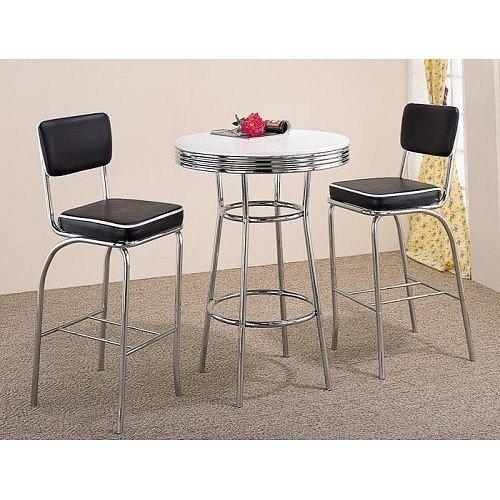3pc Retro Fountain Style Chrome U0026 Black Finish Bar Table U0026 2 Stools ...