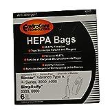 Riccar HEPA Filtration Bags fits Most Vibrance, R-Series, 2000-Series, R20E & R20ENT Series Vacuums Part # RAH-6. (6)