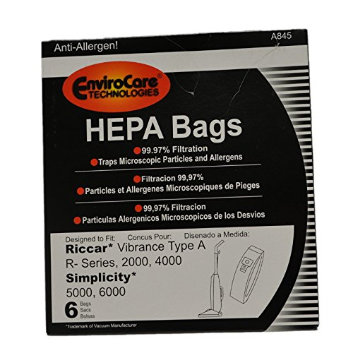 Riccar HEPA Filtration Bags fits Most Vibrance, R-Series, 2000-Series, R20E & R20ENT Series Vacuums Part # RAH-6. ()