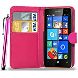 N+ INDIA MICROSOFT NOKIA LUMIA 640 PINK LEATHER WALLET FLIP CASE COVER POUCH FOR MICROSOFT NOKIA LUMIA 640 WITH TOUCH STYLUS PEN
