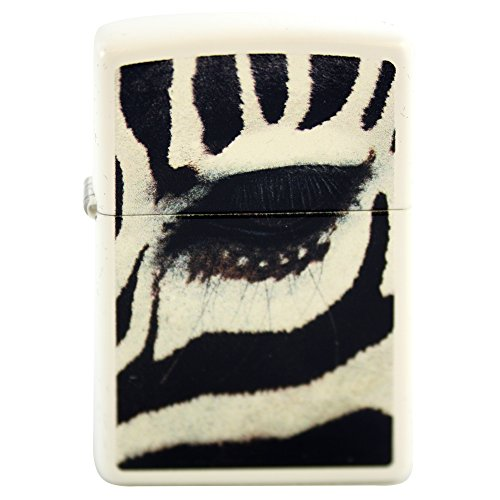 (Zippo Custom Design Lighter Zebra Eye White Matte Windproof Collectible Lighter. Made in USA Limited Edition & Rare )