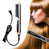 HeCloud UL Certified Safety Ceramic Hair Straightener Brush Hair straightener Comb 110V 33W