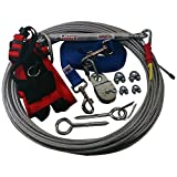 Freedom Aerial Dog Runs with Polypropylene Lead Line and Medium Comfort Safety Harness (Royal Blue, 200 FT)