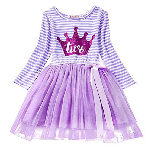 Baby Girls Shinny Striped 1st/2nd/3rd Birthday Long Sleeve Printed Princess Cake Smash Tutu Tulle Dress Toddler Kids Outfit Purple Crown (Two Year) One Size