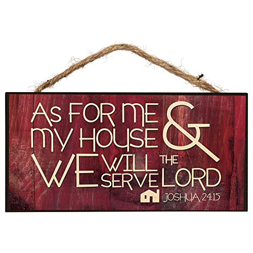 P. Graham Dunn As for Me and My House Wooden Sign with Jute Rope Hanger (As For Me And My House Bible Verse)