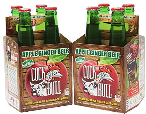Cock-N-Bull Apple Ginger Beer | Sparkling Apple Ginger Soft Drink | Two 4 Packs, 12 fl oz Bottles | Make a warm and cozy Apple Bourbon Hot Toddy. Great alternative to Hot Butter Rum Drinks!
