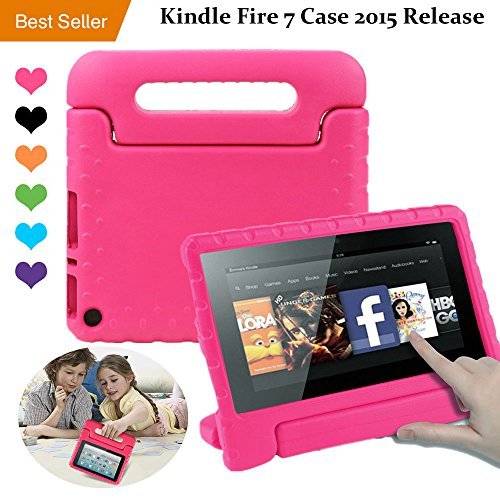 Amazon Kindle Fire 7 Case Tablet Kid-Proof (5th Generation 2015 Release Edition) kickstand EVA Shockproof Lightweight Folio Handle Stand Cover 7 inch for Kids Boys Girls Pink CAM-ULATA