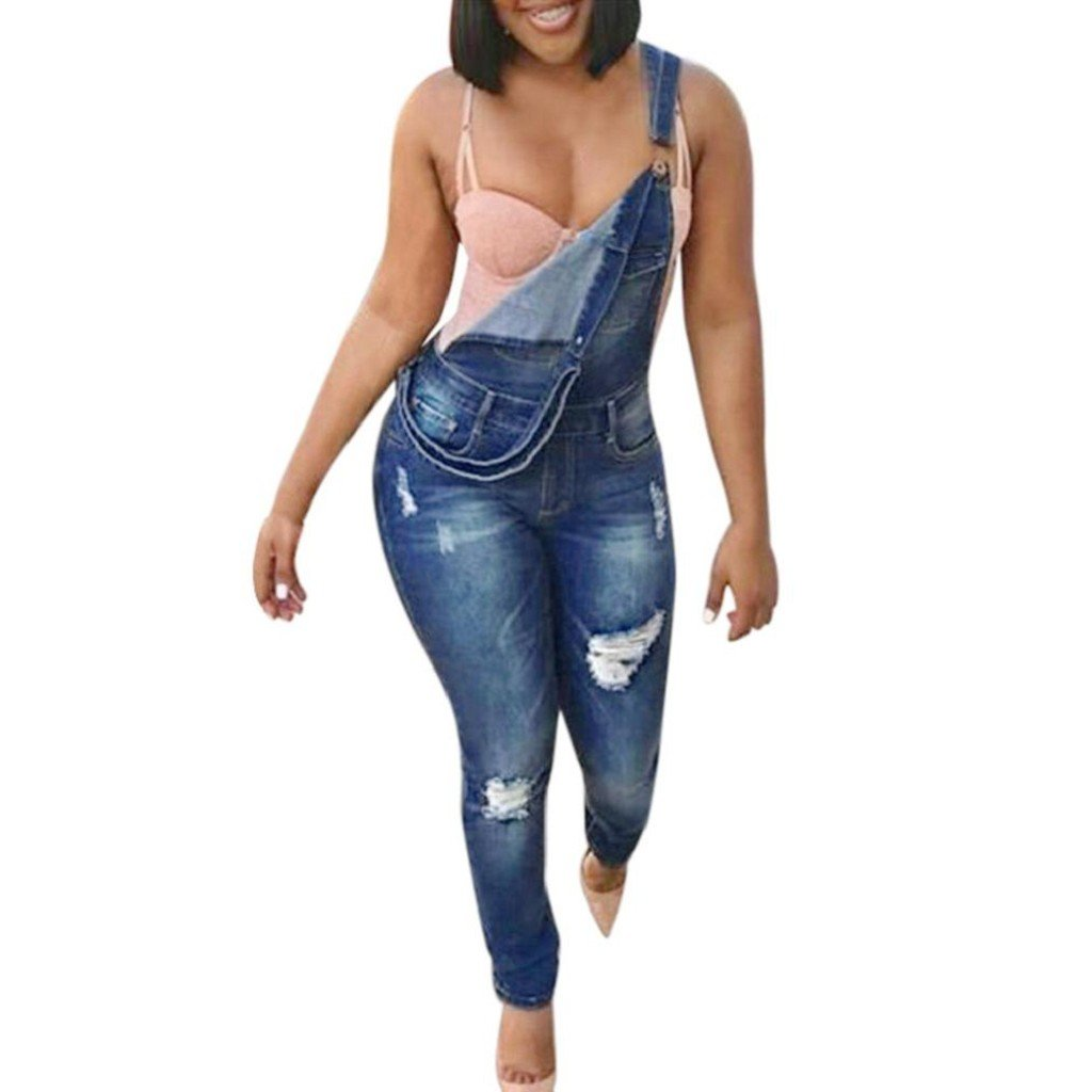 dfee1b082a0 Amazon.com  Creazrise Women Strappy Ripped Stretchy Jumpsuit Jeans (Blue