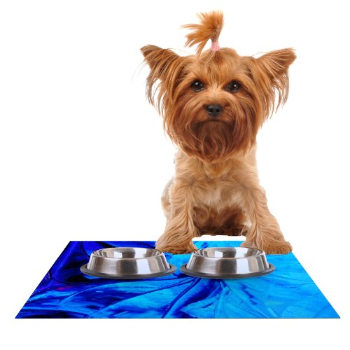 KESS InHouse Ebi Emporium Petal Pinwheels  bluee Aqua Feeding Mat for Pet Bowl, 18 by 13-Inch