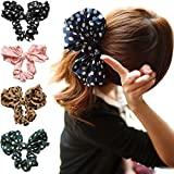 Polytree 5pcs Cute Girls Women's Big Polka Dot Rabbit Ear Hair Bow Tie Bands Ponytail Holder