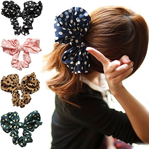 Polytree 5pcs Cute Girls Women's Big Polka Dot Rabbit Ear Hair Bow Tie Bands Ponytail Holder - Hair Bows For Girls Under $5
