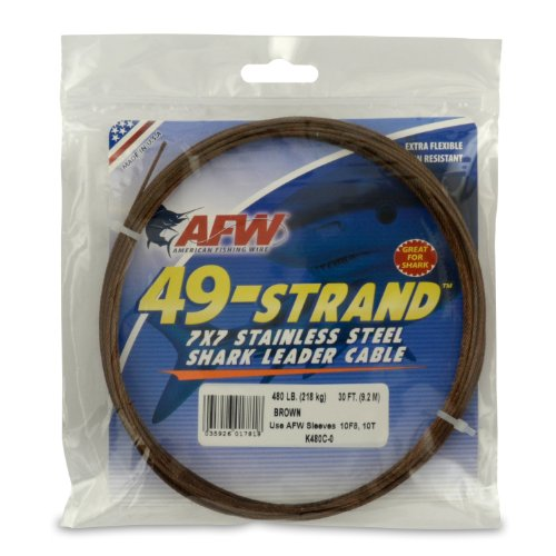 American Fishing Wire 49-Strand Cable Bare 7x7 Stainless Steel Leader Wire, Camo Brown Color, 480 Pound Test, 30-Feet (Shark Fishing Leader)