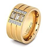 LILILEO Jewelry 13mm Stainless Steel Gold Plating Inlaid Zircon Wedding Engagement Ring For Women's Rings
