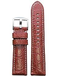 22mm XL Rou Genuine Crocodile Skin Watch Band with White Stitching and Matte Finish 135x85