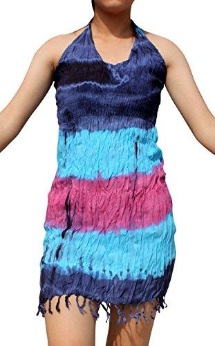 Full Funk Smock Empire Bust Short Halter Dress With Bottom Hem Tassels Tie Dye, Medium, Pink Blue