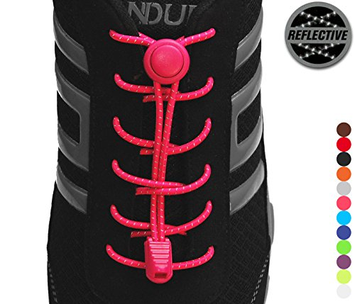 StoutGears Reflective No Tie Shoelaces Lock System - Elastic Shoelaces for Sneakers (1 Pair) (Pink)
