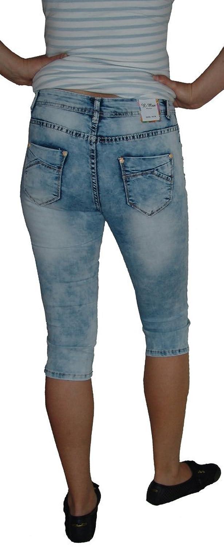 x-max Capri Damen Stretch Hose (44 / XXL, outwashed mit Glitzersteinchen  zum Beinabschluss (W612-S)): Amazon.de: Bekleidung