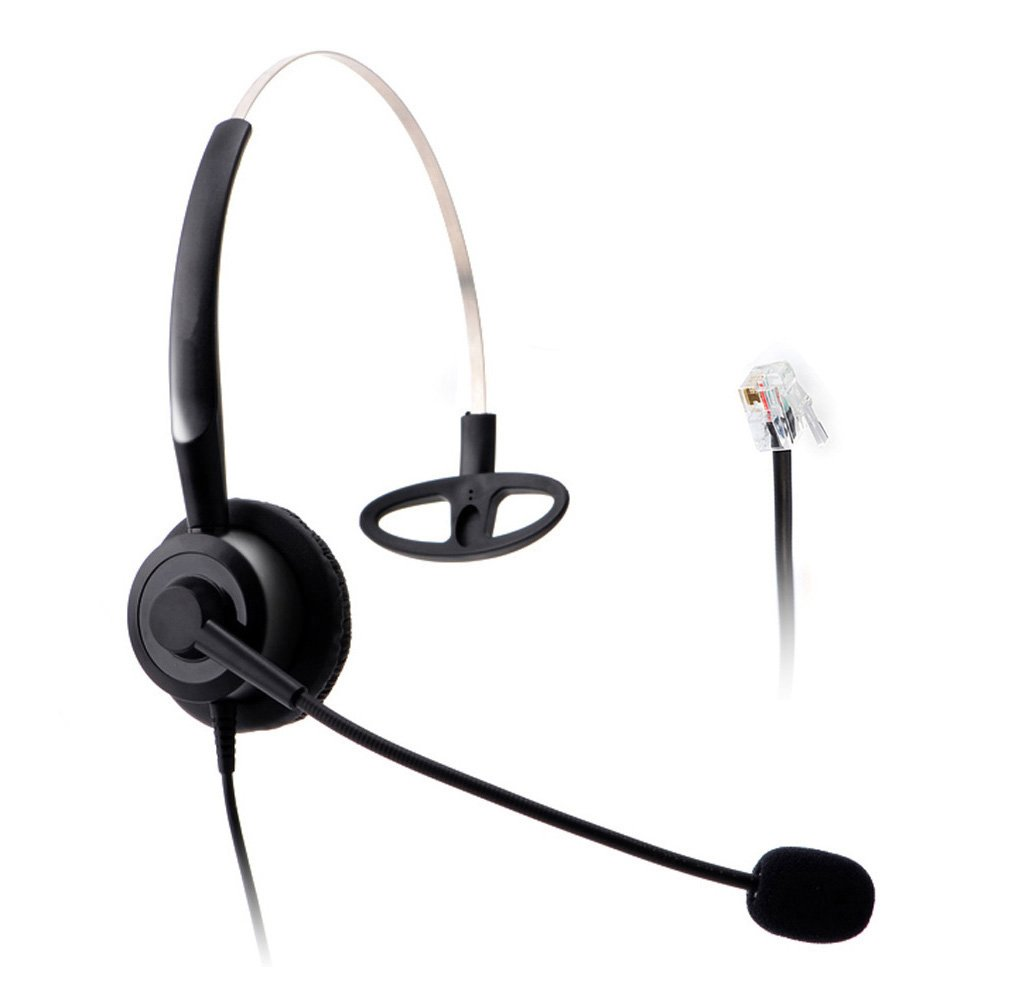 Wantek Wired Call Center Telephone Headset RJ9 Headphone with Mic for NEC Aspire DT300 DSX Polycom 335 400 Avaya 1416 Aastra 6757i Mitel 5330 ShoreTel IP230 IP Phones(H210P01A)