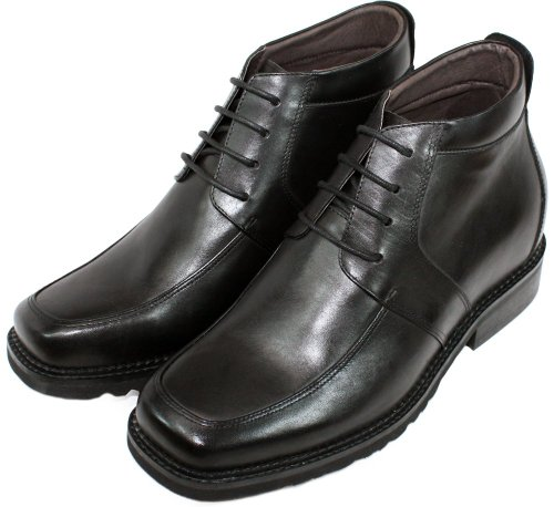 Calto - G9905 - 3,2 Pollici Più Alto - Scarpe Rialzanti Per Altezza (stivali Neri Con Lacci Quadrati)