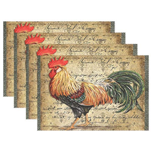 Set Teak Dining Table Rectangular (Promini Heat-Resistant Placemats, Vintage Rooster Art Washable Polyester Table Mats Non Slip Washable Placemats for Kitchen Dining Room Set of 4)
