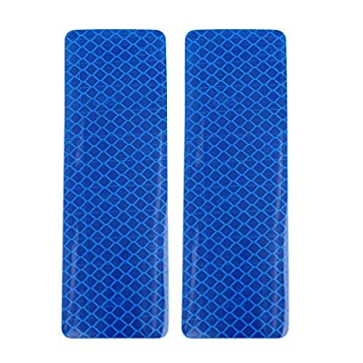 X AUTOHAUX 6pcs Automotive Reflective Stickers Night Visibility Safety Reflective Bumper Tape Universal Adhesive for Car 12 x 4cm Blue: Automotive