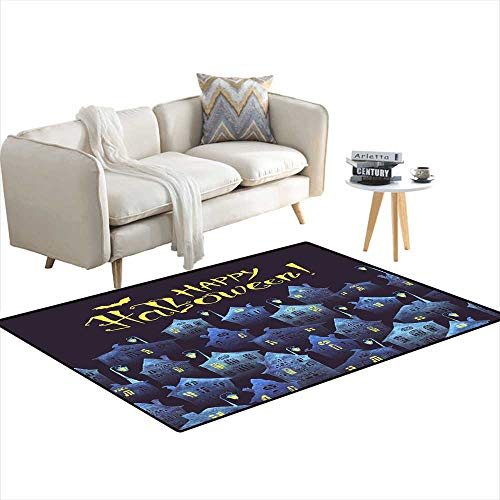 (Anti Skid Rugs Happy Halloween Poster wi an olcity in The Night anhand-Drawn Lettering Crookehouses anlightelanterns paintein waterco)