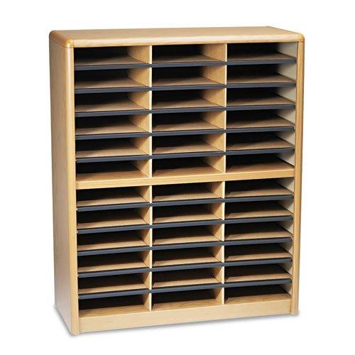 Safco - Steel/Fiberboard Literature Sorter, 36 Sections, 32 1/4 x 13 1/2 x 38, Oak 7121MO (DMi ()