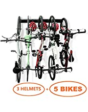 Bike Storage Garage Rack Holds 5 Bicycles Vertical Wall Mount Bike Hanger Hooks Indoor Space Saving (8 Hooks and 3 Rails)