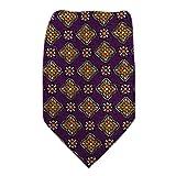 B-10420 - Purple - Gold - Orange Boys Silk Fashion Tie