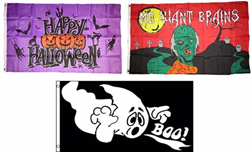 ALBATROS 3 ft x 5 ft Happy Halloween 3 Pack Flag Set #111 Combo Banner Grommets for Home and Parades, Official Party, All Weather Indoors Outdoors]()