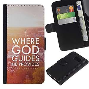 Leather Etui en cuir || Samsung Galaxy S6 || Biblia donde Dios guía Él Proporciona @XPTECH