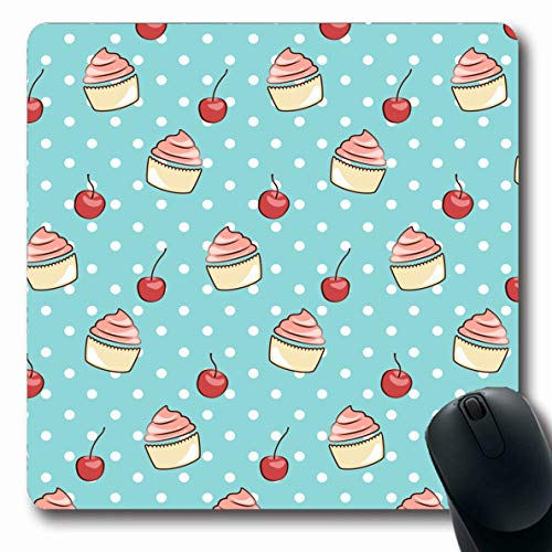 Ahawoso Mousepad Oblong 7.9x9.8 Inches Greet Birthday Sweet Pattern Cupcake Cherry Food Drink Baking Berry Cafe Cake Celebration Mouse Pad Non-Slip Rubber for Notebook Laptop PC Computer