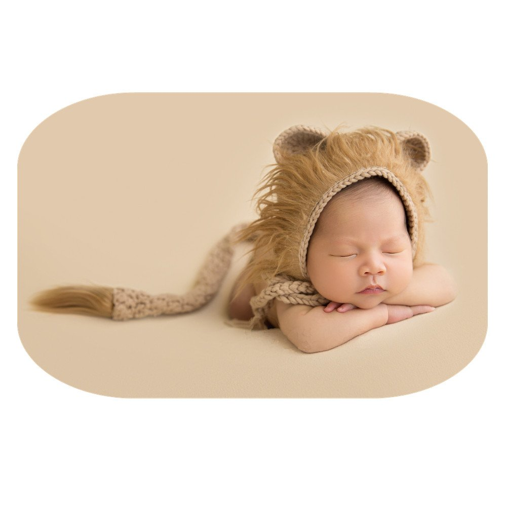 Newborn Boy Girl Handmade Baby Photography Props Outfits Photo Shoot Lion Hat Tail Sets