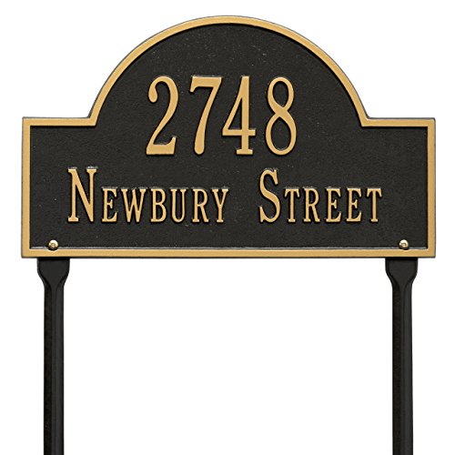 "Custom Arch Marker LAWN Address Plaque 16""W x 9""H (2 Lines) by Whitehall"