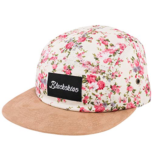 Blackskies Sakura 5-Panel Hat | Men Women Baseball Cap Floral Dad Snapback Strapback Hip Hop Cherry Blossom White Suede