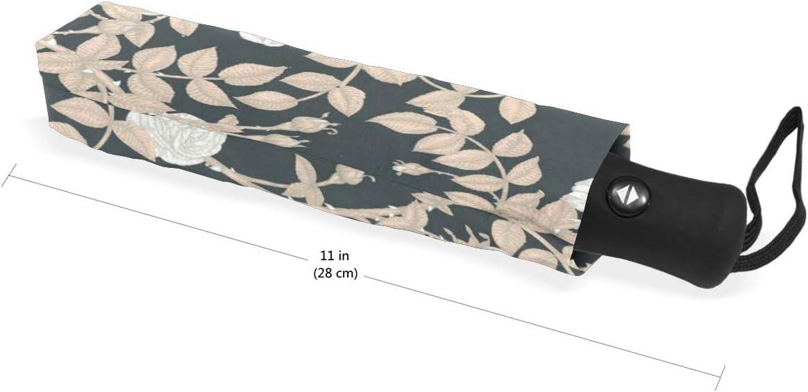 Jacksome Flowers Travel Umbrella Auto Open Close UV Protection Windproof Lightweight Umbrella