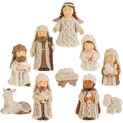 (Christmas Nativity Set with Wise Men, Holy Family Manger, 10 Pieces, 2.5 Inch Tall)