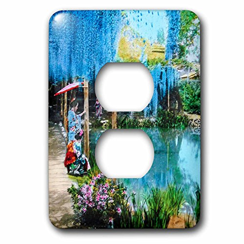 Scenes from the Past Magic Lantern - Japanese Magic Lantern Glass Slide Antique Wisteria Garden Geisha - Light Switch Covers - 2 plug outlet cover (lsp_244020_6)