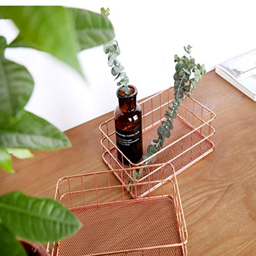 Caveen Modern Copper Rose Gold Wire Mesh Basket Storage Office Bedroom Bathroom Rose Gold medium Photo #1