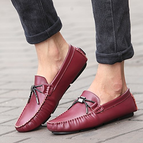 Tda Hombres Simple Pure Color Knot Leather Business Conducción Penny Holgazanes Rojo