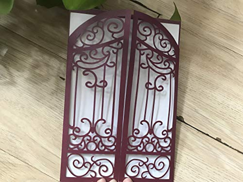Burgundy Red Gatefold Laser Cut Invitation,Lace Laser cut Wedding Invitations,Quinceanera Invitation,Invitation Cards, Sweet sixteen Invitation cards,50pcs